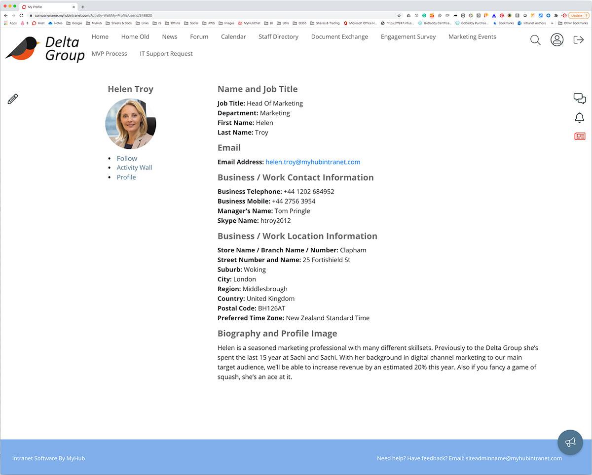 emloyee profile example