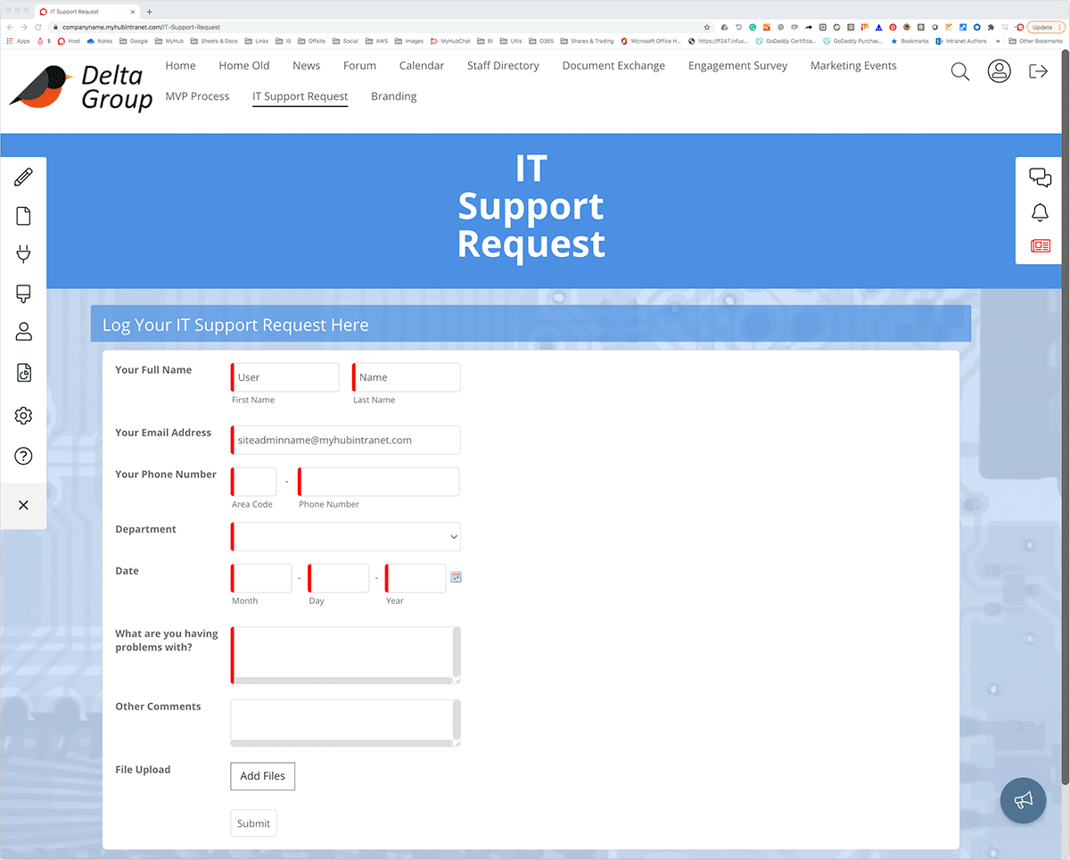 it support form example